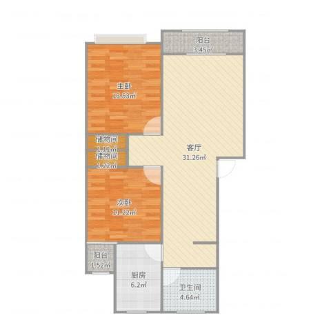 德乐苑2室1厅1卫1厨93.00㎡户型图