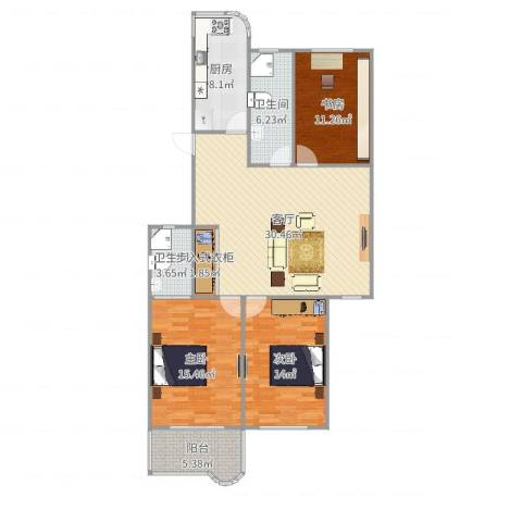 太阳公寓3室1厅2卫1厨120.00㎡户型图