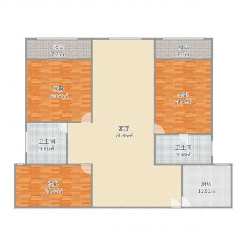盛源大厦公寓3室1厅2卫1厨232.00㎡户型图
