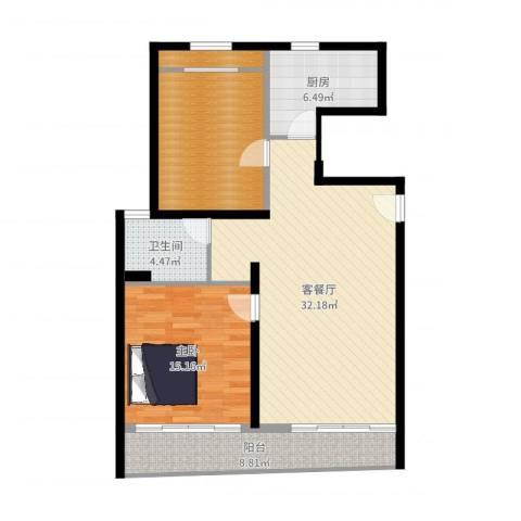 圣美邸1室2厅1卫1厨102.00㎡户型图