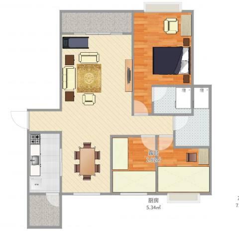 恒大绿洲3室1厅2卫1厨102.00㎡户型图