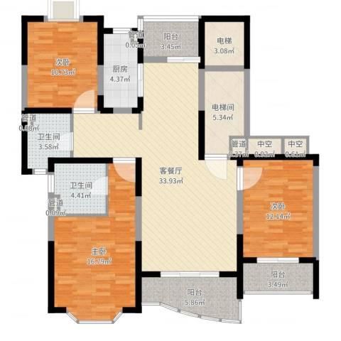 强生古北花园3室2厅2卫1厨137.00㎡户型图