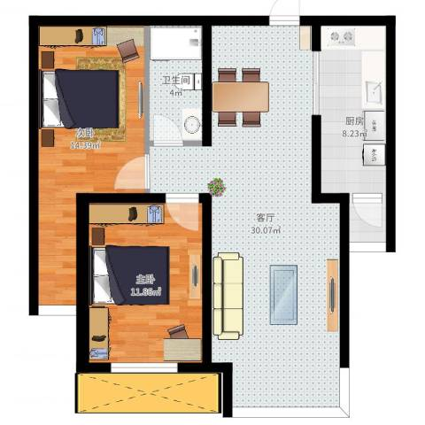 红星国际广场西苑2室1厅1卫1厨68.56㎡户型图