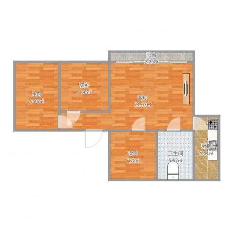 华丽西村3室1厅1卫1厨72.00㎡户型图