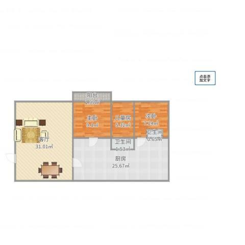 华丽西村3室1厅2卫1厨103.00㎡户型图