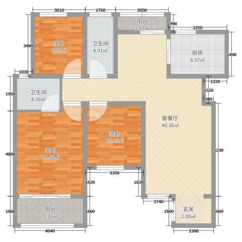 阳光美地3室2厅2卫1厨127.00㎡户型图