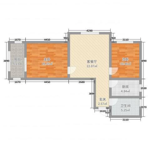 鑫泓三鑫园2室2厅1卫1厨80.00㎡户型图