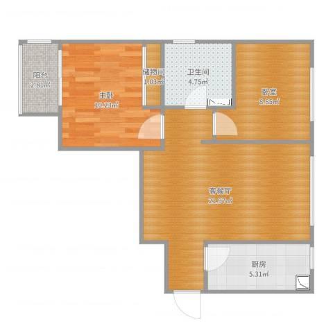 舒畅家园两室两厅一卫一厨一阳Hs0171室2厅1卫1厨69.00㎡户型图