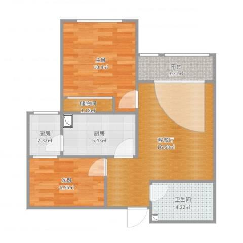 舒畅家园两室两厅一卫一厨一阳Hs0202室2厅1卫2厨62.00㎡户型图