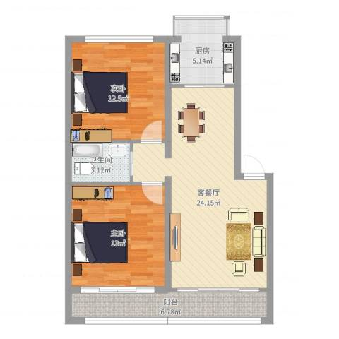 正安花园2室2厅1卫1厨81.00㎡户型图
