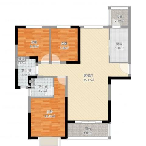 恒大御景半岛3室2厅2卫1厨106.00㎡户型图