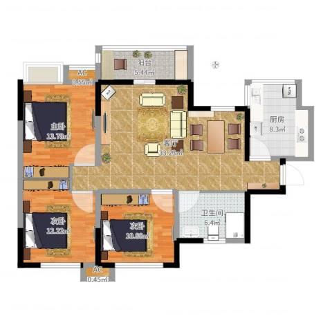 军安卫士花园3室1厅2卫2厨114.00㎡户型图