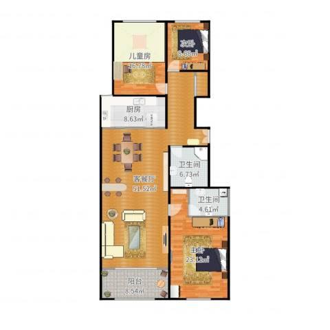 龙海方舟花园3室2厅2卫1厨162.00㎡户型图