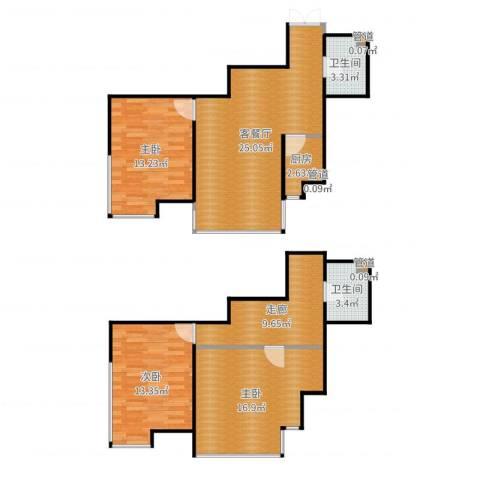 诚基中心3室2厅2卫1厨110.00㎡户型图