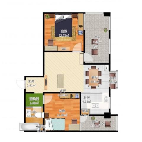 嘉来涪滨印象2室2厅1卫1厨95.00㎡户型图