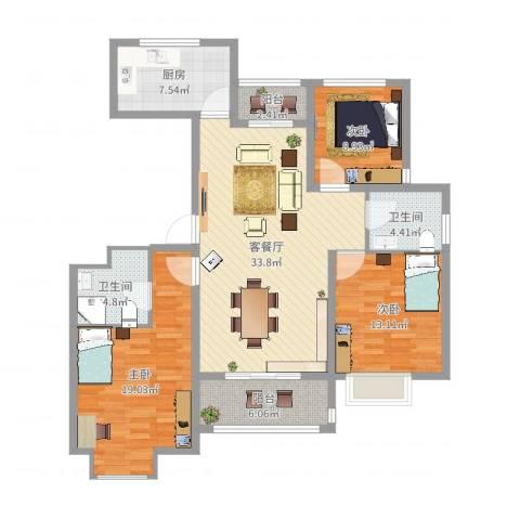 东江丽景3室2厅2卫1厨125.00㎡户型图