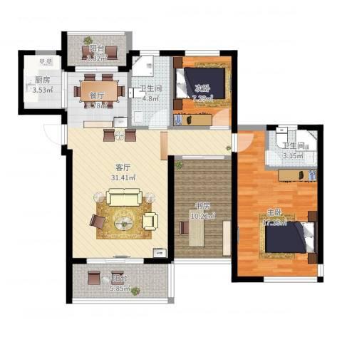 锦绣嘉园3室1厅2卫1厨108.00㎡户型图