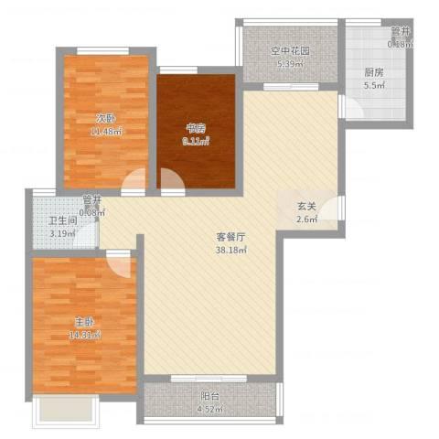 华勤紫金城3室2厅1卫1厨115.00㎡户型图