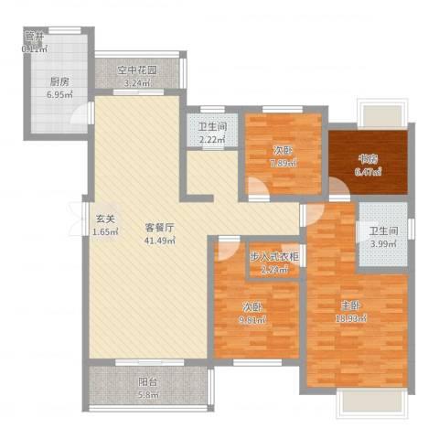 华勤紫金城4室2厅2卫1厨136.00㎡户型图