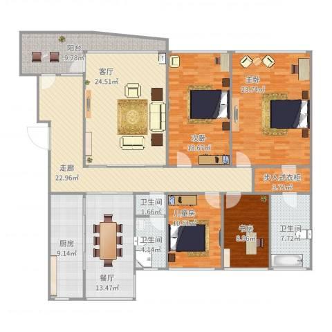 海富经典4室2厅3卫1厨199.00㎡户型图