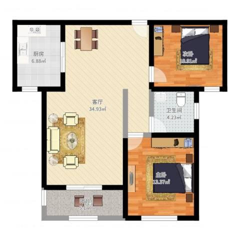 远洋香奈2室1厅1卫1厨94.00㎡户型图