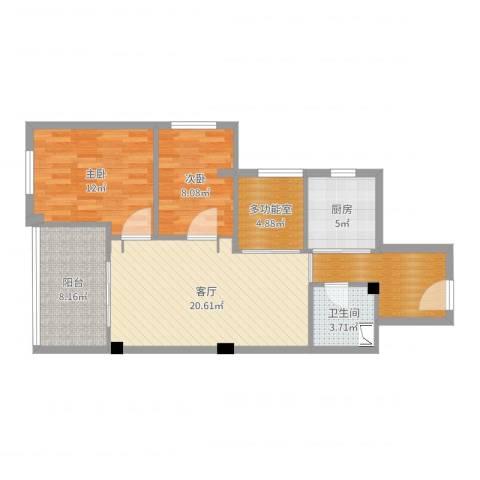 南航新村2室1厅1卫1厨86.00㎡户型图