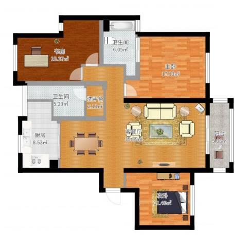 阳光新城花园3室2厅2卫1厨139.00㎡户型图