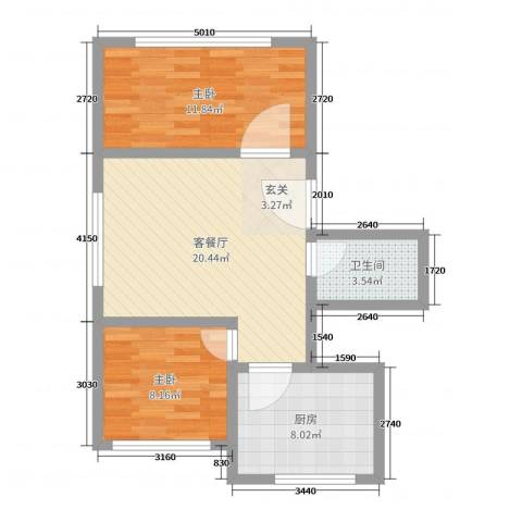 万盛佳园2室2厅1卫1厨65.00㎡户型图