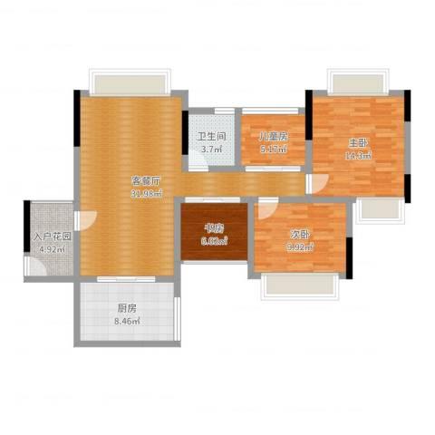 世纪城国际公馆香榭里4室2厅1卫1厨106.00㎡户型图