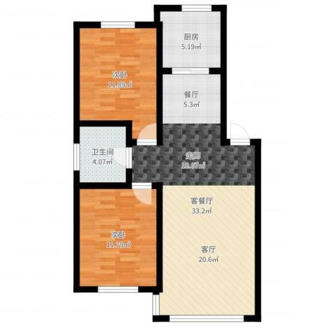意大利风情小镇2室2厅1卫1厨83.00㎡户型图