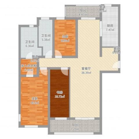 海上海新城3室2厅2卫1厨135.00㎡户型图