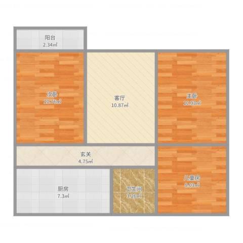 阳山花苑3室1厅1卫1厨73.00㎡户型图