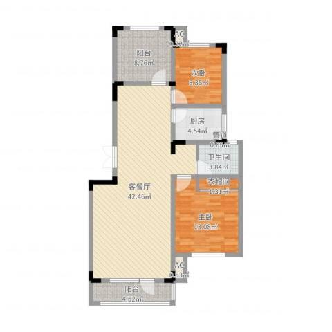 复地哥德堡森林三期墅香洋房2室2厅1卫1厨110.00㎡户型图