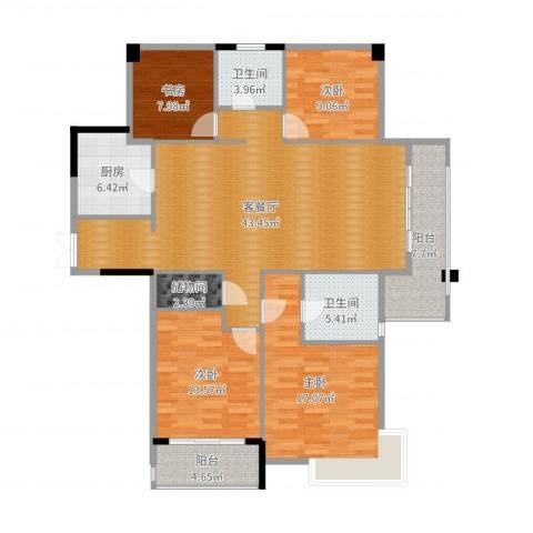 长睦家苑4室2厅2卫1厨121.66㎡户型图