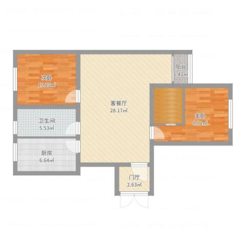 南湖家园2室2厅1卫1厨85.00㎡户型图