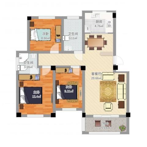 天景名城3室2厅2卫1厨98.00㎡户型图