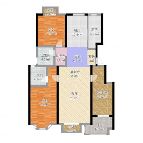 裕华铭珠2室2厅4卫1厨152.00㎡户型图