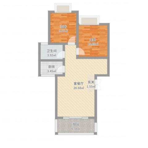 兴隆城市花园二期2室2厅1卫1厨78.00㎡户型图