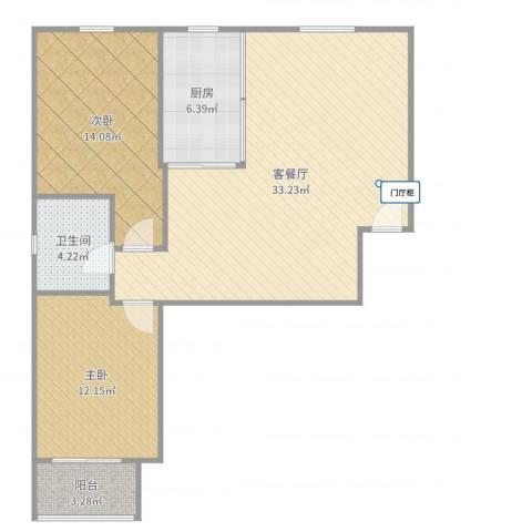 永康水印城2室2厅1卫1厨92.00㎡户型图