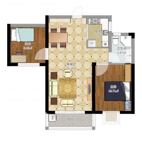 南昌莱蒙都会2室2厅1卫1厨70.00㎡户型图