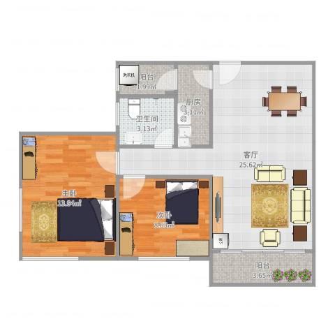 东方新地苑2室1厅1卫1厨75.00㎡户型图