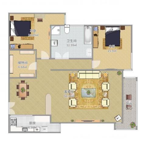 怡水园2室2厅1卫1厨135.00㎡户型图