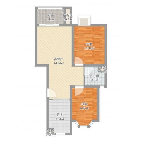 龙柏香榭苑2室2厅1卫1厨78.00㎡户型图