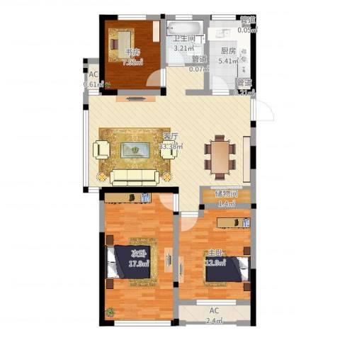 世纪华城二期铂晶湾3室1厅1卫1厨107.00㎡户型图