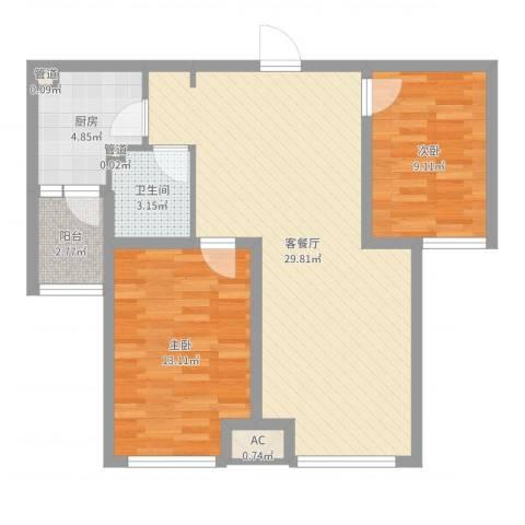 首尔甜城2室2厅1卫1厨80.00㎡户型图