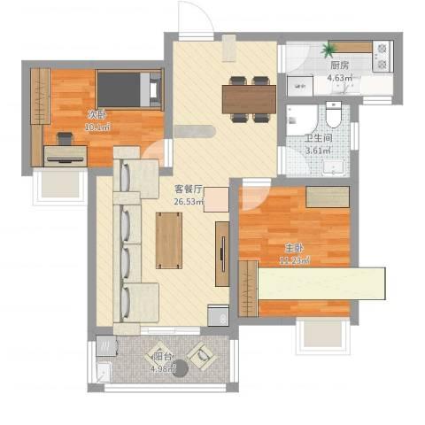 莱茵半岛2室2厅1卫1厨76.00㎡户型图