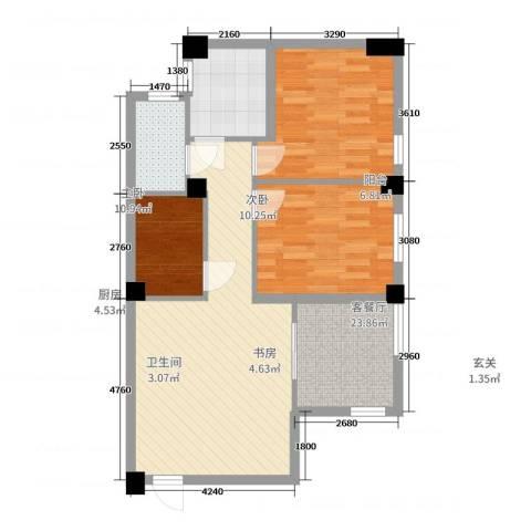 绿佳花园3室2厅1卫1厨67.00㎡户型图