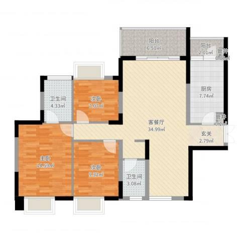 鲁能星城一街区3室2厅2卫1厨112.00㎡户型图