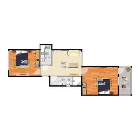 牛街东里2室1厅1卫1厨69.00㎡户型图