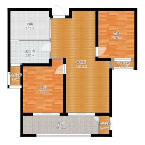 九龙仓擎天半岛2室2厅1卫1厨115.00㎡户型图